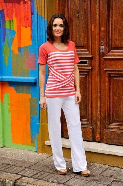 remera mangas cortas tejida a rayas con detalles en lazos Di Madani Sweaters primavera verano 2017