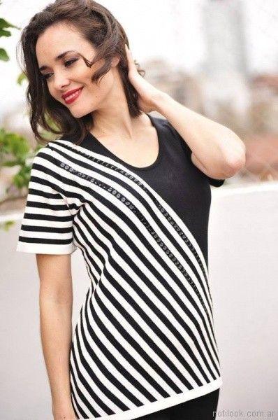 remera mangas cortas tejida con detalles en lentejuelas Di Madani Sweaters primavera verano 2017