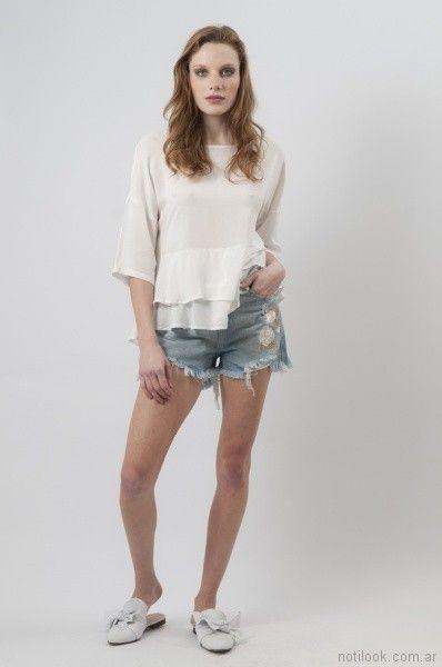 short de jeans con bordado y desflecado Cenizas net primavera verano 2018