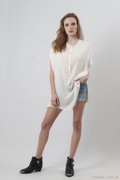 short de jeans y camisola larga Cenizas net primavera verano 2018