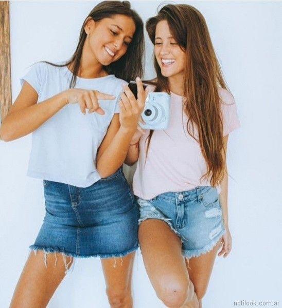 short y minifalda roots con remeras basicas Desvio jeans verano 2018
