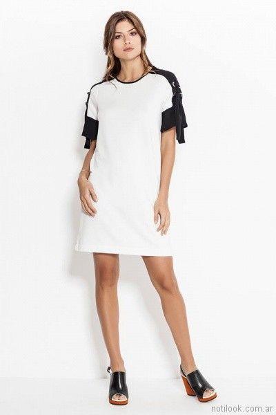 vestido recto blanco y negro Activity Pret a Porter primavera verano 2018