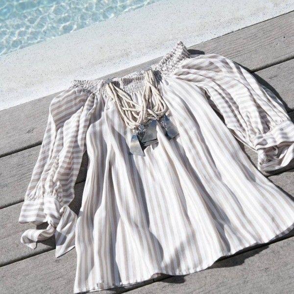 blusa a rayas beige Marcela Pagella primavera verano 2018