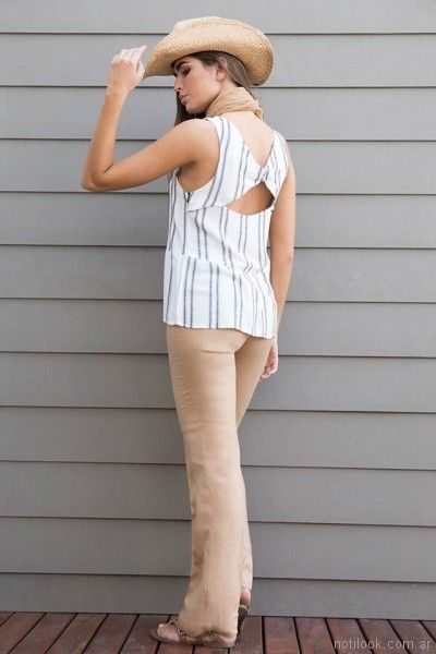 blusa a rayas de lino Zulas primavera verano 2018