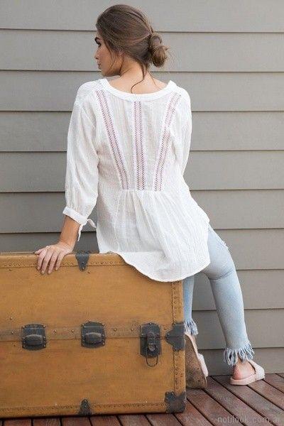 blusa con puntilla en espalda Zulas primavera verano 2018