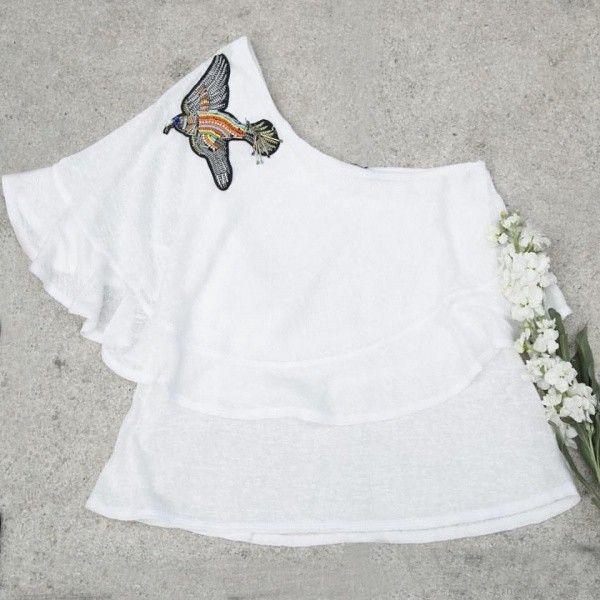 blusa con un hombro Marcela Pagella primavera verano 2018