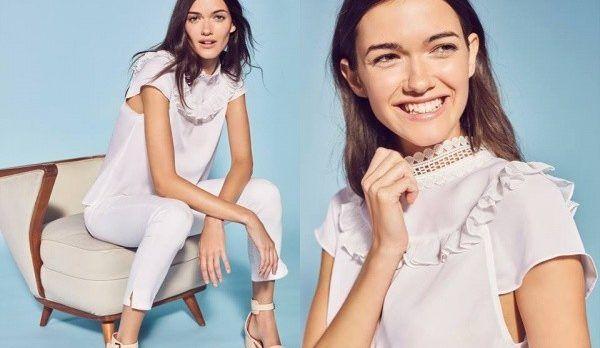 blusa con volados y capri blanco Etiqueta negra mujer verano 2018