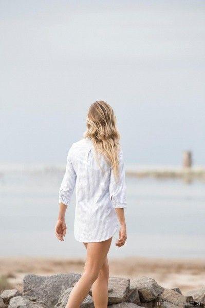 camisa a rayas mujer Uvha primavera verano 2018