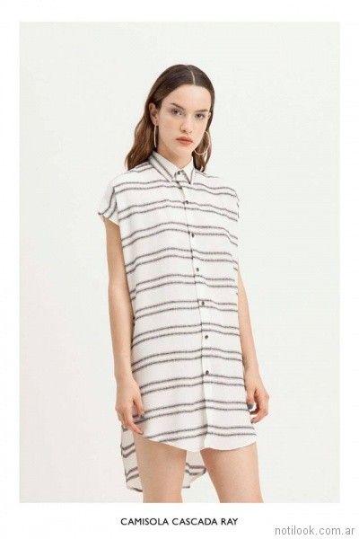 camisa larga a rayas asimetrica vestite y andate primavera verano 2018