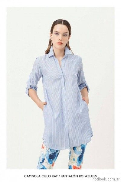 camisa larga a rayas mujer vestite y andate primavera verano 2018