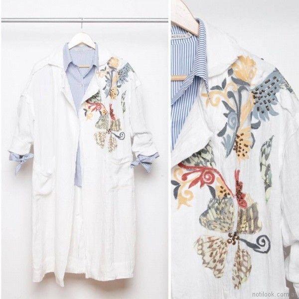 camisa larga bordada Marcela Pagella primavera verano 2018