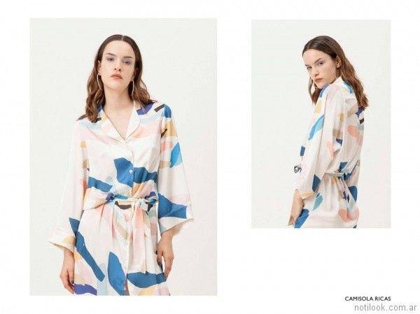 camisa larga de seda estampada con lazo vestite y andate primavera verano 2018