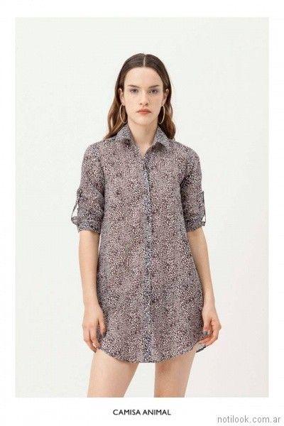 camisa larga mangas corta animal print vestite y andate primavera verano 2018