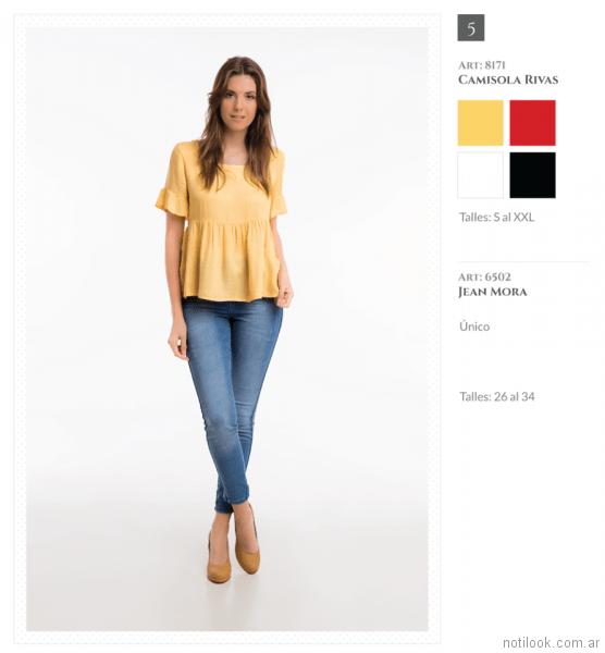 camisola con plisado amarilla Okoche primavera verano 2018