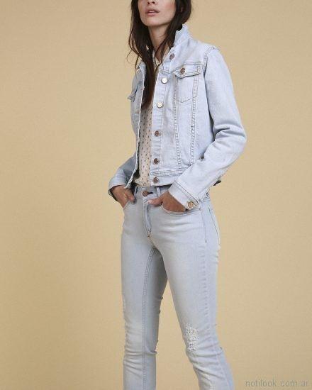 campera y pantalon jeans claro Oassian primavera verano 2018