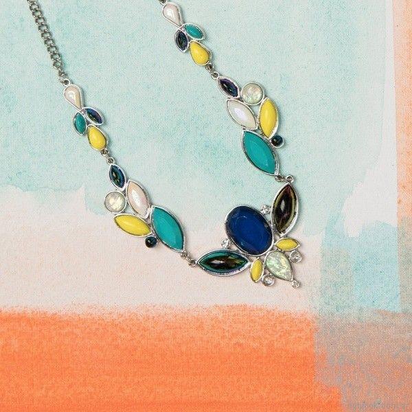 collar largo turquesa y amarillo Isadora verano 2018