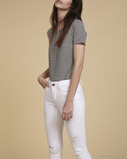 jeans blanco con roturas Oassian primavera verano 2018