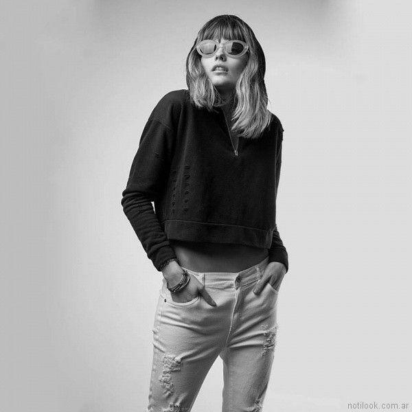 jeans blanco con roturas Vov Jeans primavera verano 2018