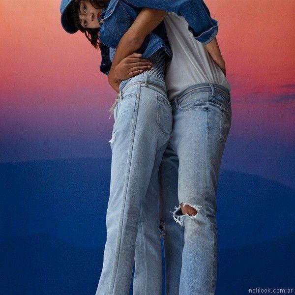 jeans rectos holgados con roturas Wrangler mujer verano 2018