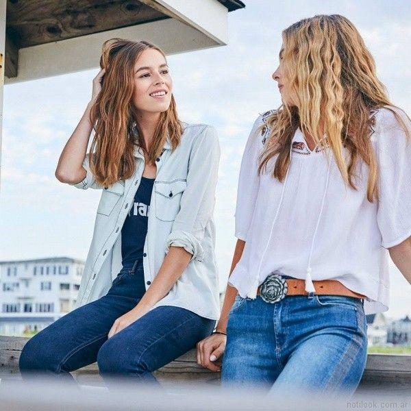 jeans y campera denim Wrangler mujer verano 2018