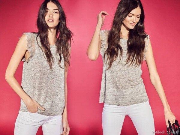 musculosa con puntilla y jeans blanco Etiqueta negra mujer verano 2018