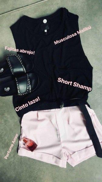 musculosa negra y short bengalina Clan Issime verano 2018
