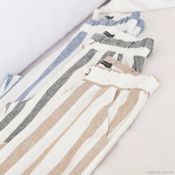 pantalon a rayas de lino Marcela Pagella primavera verano 2018