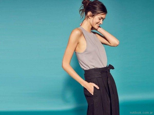 pantalon con lazo de lino Etiqueta negra mujer verano 2018