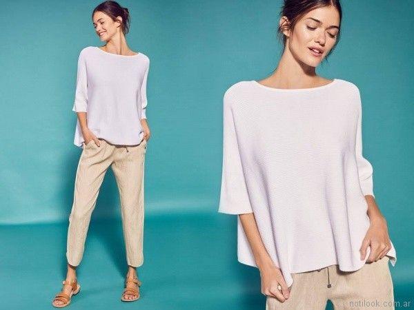 pantalon de lino y sweater de algodon Etiqueta negra mujer verano 2018