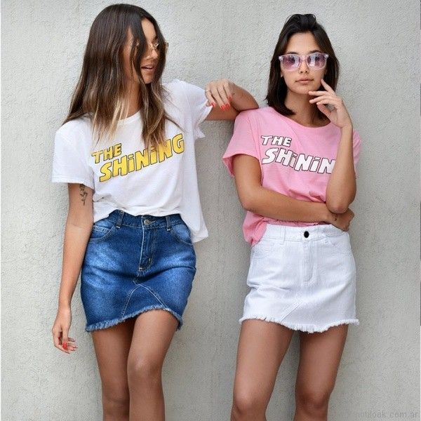 63a8c5508 pollera de jeans y remeras con impresiones yosy lovers primavera ...