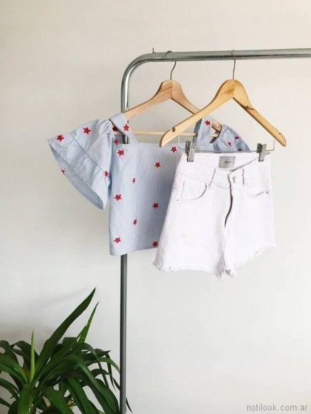top blusa con hombros descubiertos y volados en mangas Abstracta primavera verano 2018