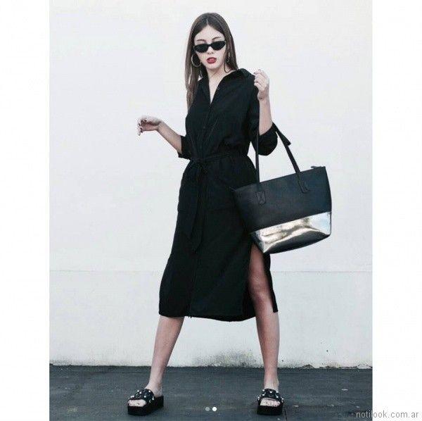 vestido camisero de lino con lazo Clan Issime verano 2018