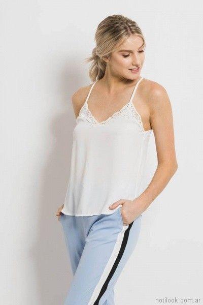blusa lencera blanca Sans Doute verano 2018