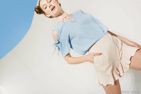 blusa mangas cortas con recortes en hombros Sans Doute verano 2018