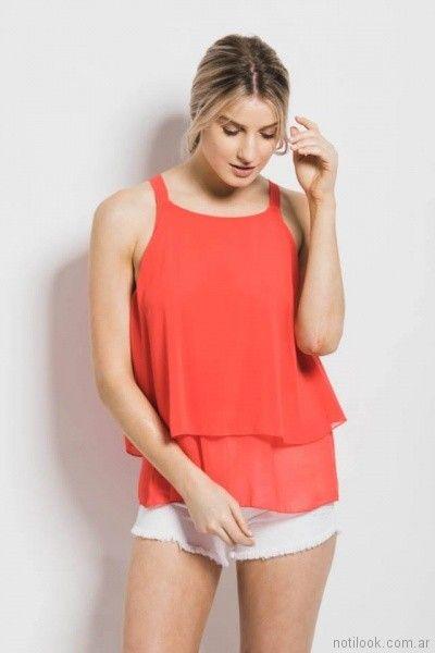 blusa roja de gasa doble capa Sans Doute verano 2018