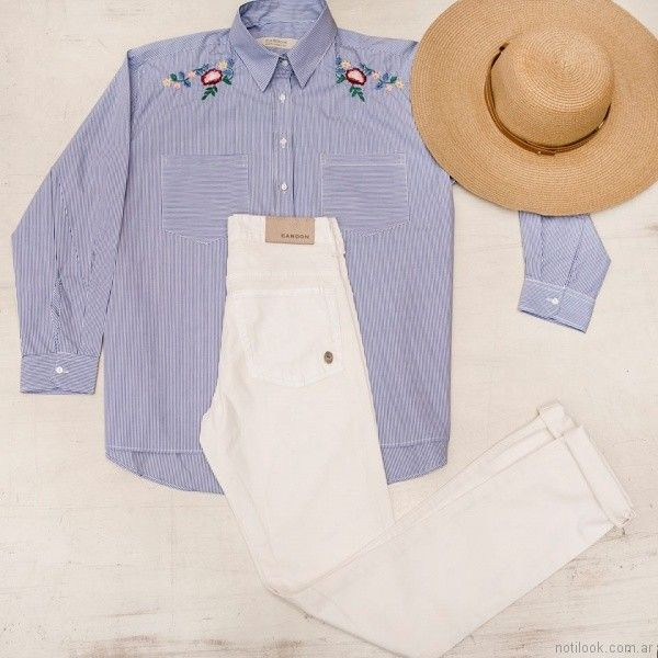 camisa a rayas con jeans blanco cardon mujer verano 2018