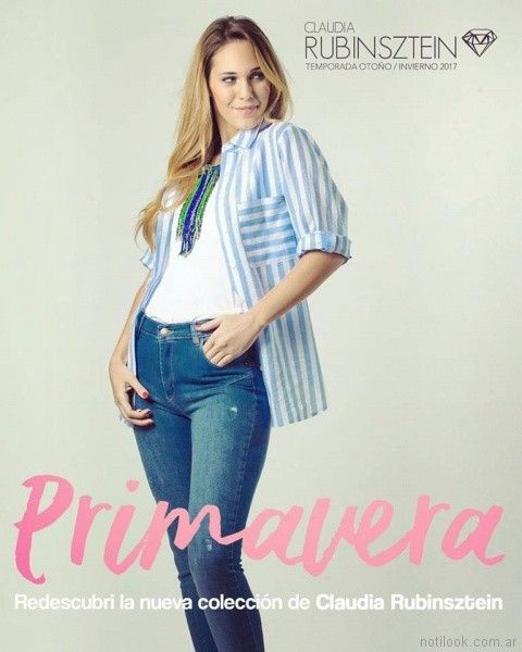 camisa a rayas mujer Claudia Rubinsztein primavera verano 2018