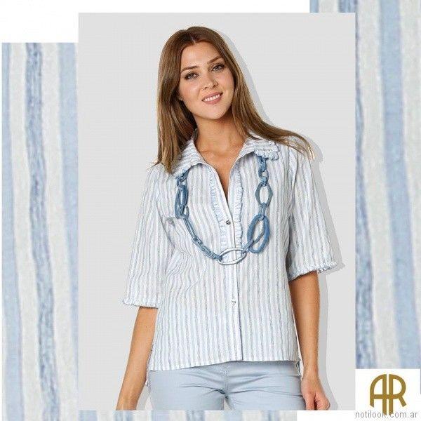 camisa a rayas mujer señoras Anna Rossatti verano 2018