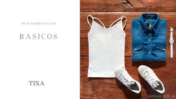 camisa jeans mujer musuclosa basica blanca tiza look informal verano 2018