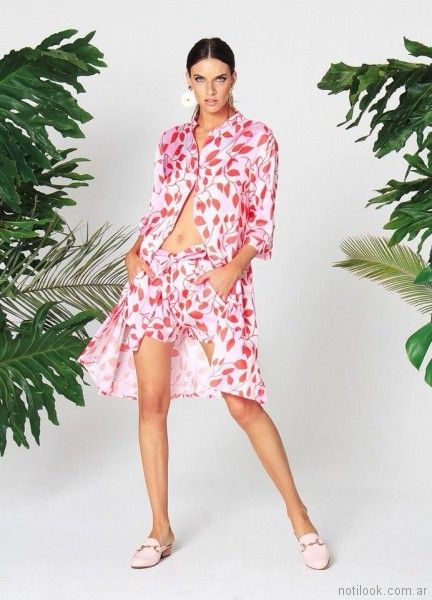 camisa larga estampada mujer con short w ivana verano 2018