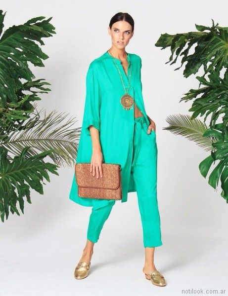 capri con lazo y camisa larga verde aqua w ivana verano 2018