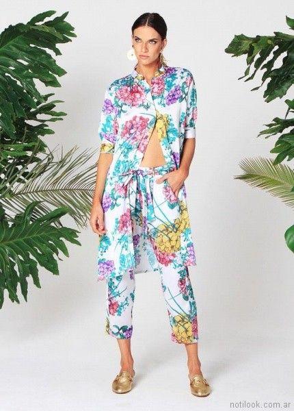 conjunto de camisa larga y pantalon capri w ivana verano 2018