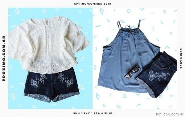 look para adolescentes con short de jeans y blusa Proximo verano 2018