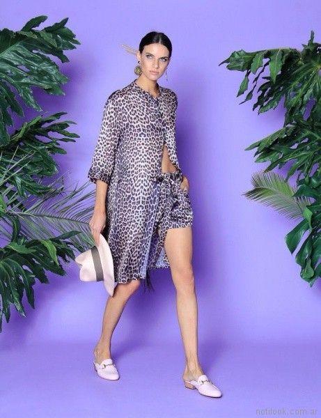 vestido camisero animal print w ivana verano 2018