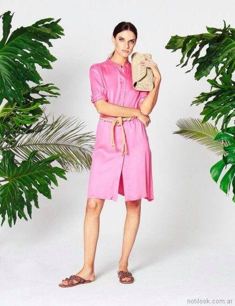 vestido camisero casual bengalina w ivana verano 2018