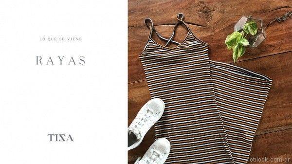 vestido jersey a rayas tiza look informal verano 2018