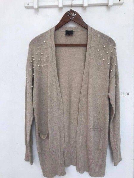 Saco tejidos con apliques de perla invierno 2018 - Madastore