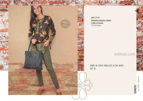blusa estampada y jeans verde oliva para mujer invierno 2018 - Las Taguas