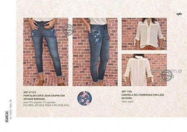 jeans bordados para mujer invierno 2018 - Las Taguas