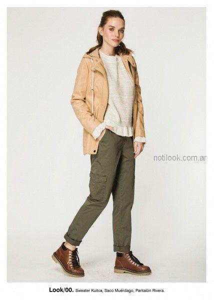 pantalon cargo y saco de cuero invierno 2018 - Asterisco